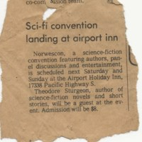 Norwescon 1 Newspaper Announcement